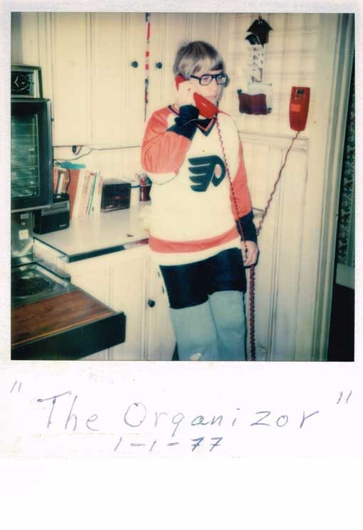 Dave organizing hockey 1977