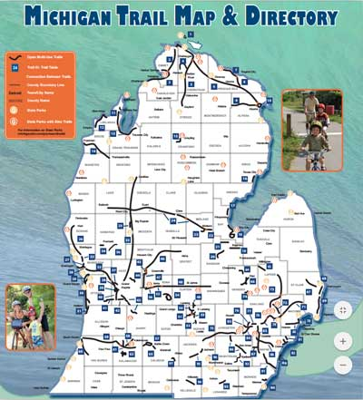 Michigan rail trail map