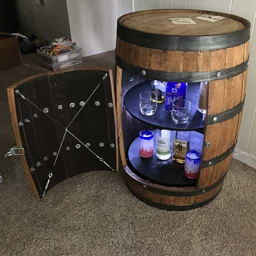 Beau Oak Barrel Liquor Cabinet